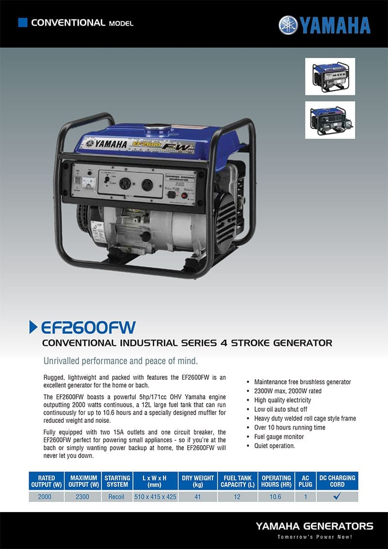 YAMAHA EF2600FW | 2300W Conventional/Open Frame Generator