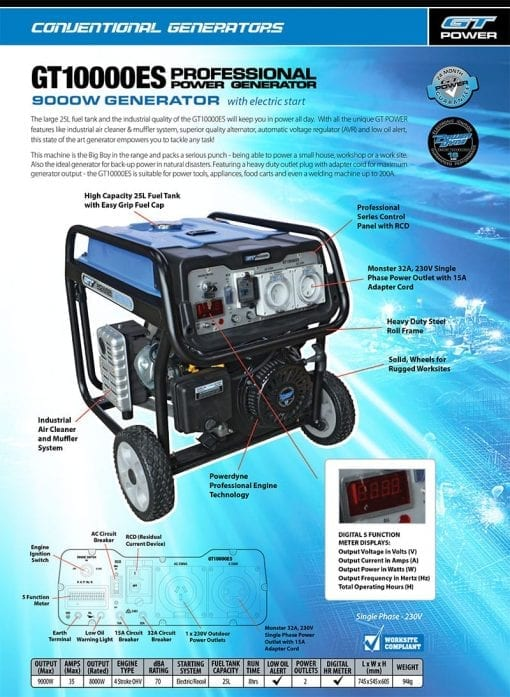 GT POWER GT10000ES | 9000W professional power generator w/ Electric Start