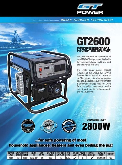 GT POWER GT2600 | 2800W professional power generator