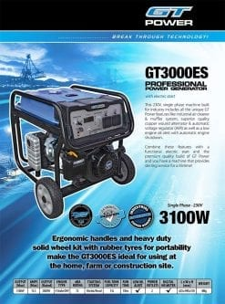 GT POWER GT3000ES | 3100W professional power generator with Electric Start