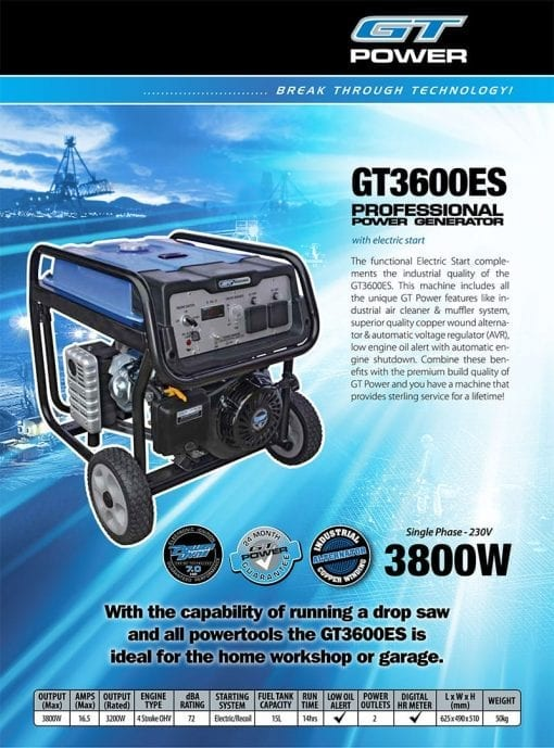 GT POWER GT3600ES | 3800W professional power generator w/ Electric Start