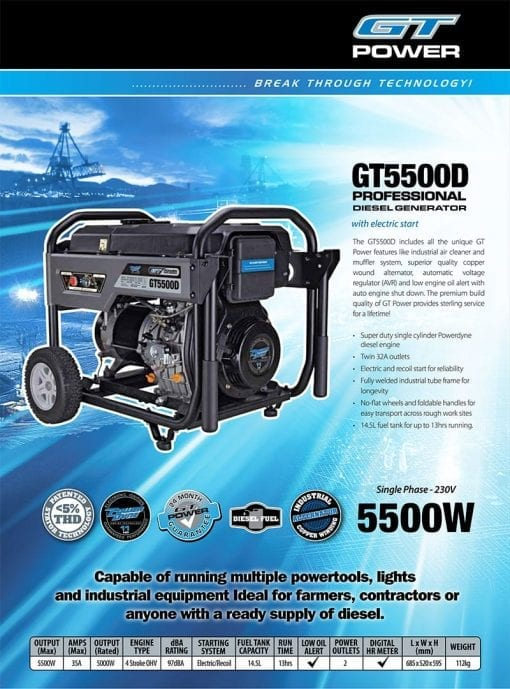 GT POWER GT5500D | 5500W DIESEL power generator w/ Electric Start