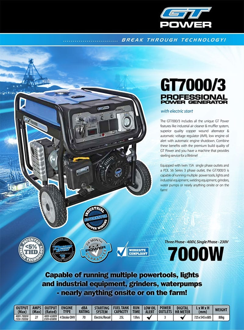 GT POWER GT7000/3 | 7000W 3 Phase and Single Phase Conventional/Open Frame  Power Generator with Electric Start and Wheels