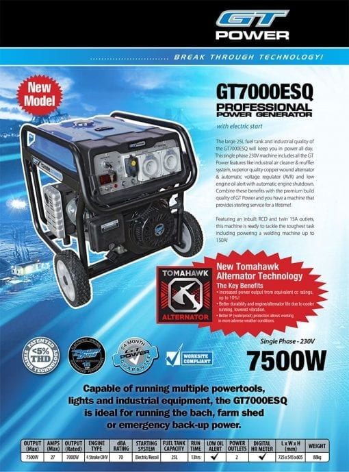 GT POWER GT7000ESQ | 7500W professional power generator with Electric Start