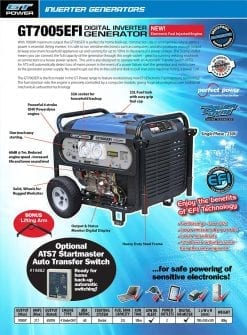 GT POWER GT7005EFi | 7000W digital inverter generator with Electric Start