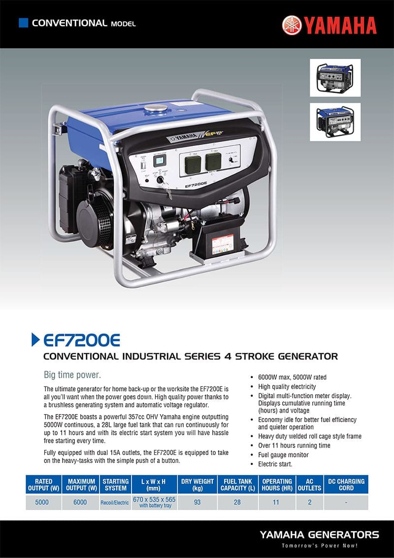 Yamaha Ef7200e 6000w Conventional Generator With