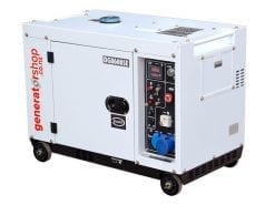 DG8600SE | 6.3kW Enclosed Diesel Generator with 30L Fuel Tank 2 Wire Auto Start/Stop and Wireless Remote Electric Start/Stop on Universal Wheels and Pure Sine Wave AC (Inverter Like)