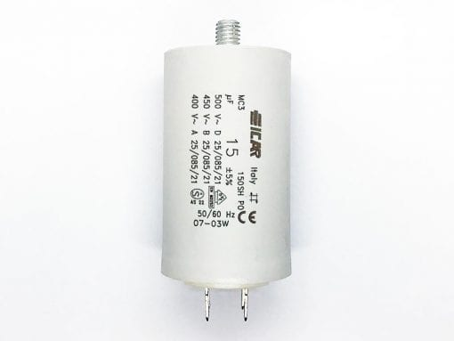 ICAR 15µF RUN CAPACITOR With Terminals