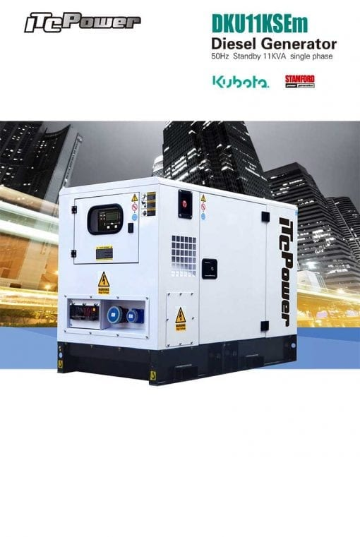 DKU11KSEm | 11kVA Enclosed Canopy Standby Diesel Generator with Kubota Engine and Stamford Alternator, Single Phase