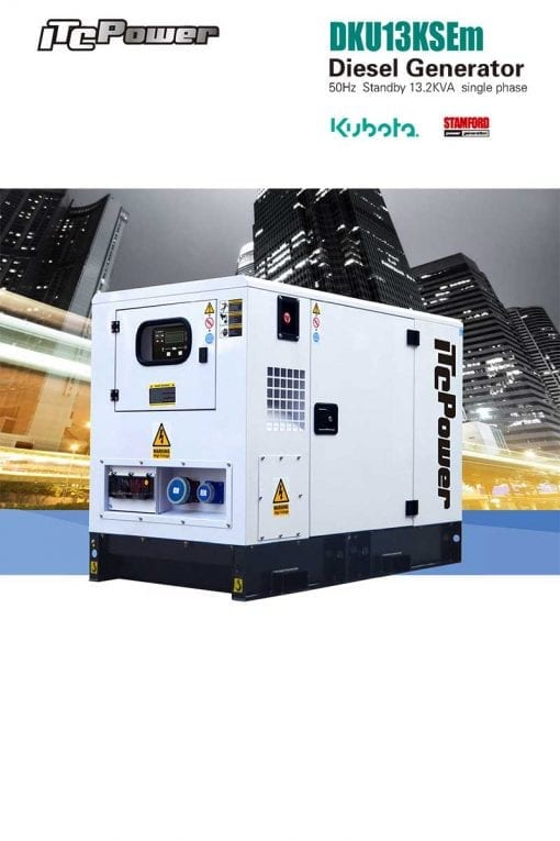 DKU13KSEm | 11kVA Enclosed Canopy Standby Diesel Generator with Kubota Engine and Stamford Alternator, Single Phase
