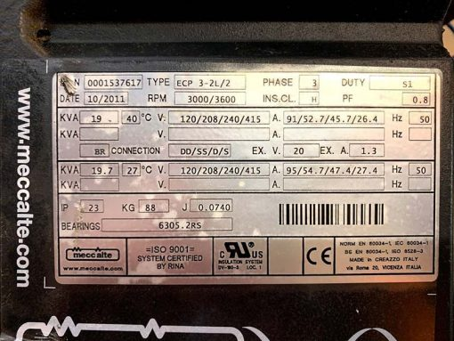MECC ALTE ECP3-2L/2 19kVA 3 Phase 2 Pole Name Plate