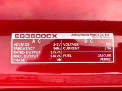 *USED* HONDA EG3600CX | 3.6kVA D-AVR Conventional/Open Frame Generator