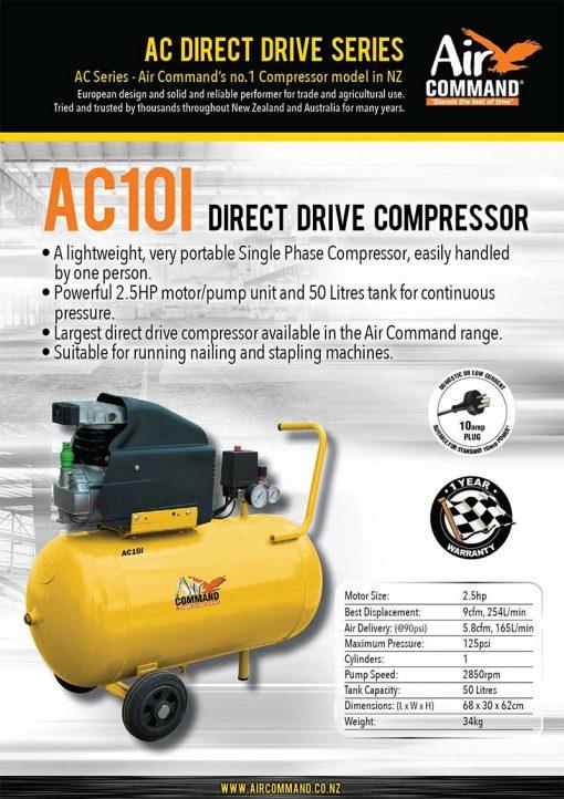 AIR COMMAND AC10i | 10CFM / 283L/min, 50L Tank 2.5HP Direct Drive Air Compressor