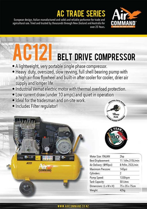 AIR COMMAND AC12i | 11.1cfm / 315L/min, 50L Tank, 2HP Belt Drive Air Compressor