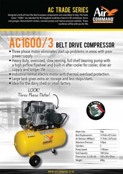 AIR COMMAND AC1600/3 | 14.9cfm / 421L/min, 100L Tank, 3HP Three Phase Belt Drive Air Compressor