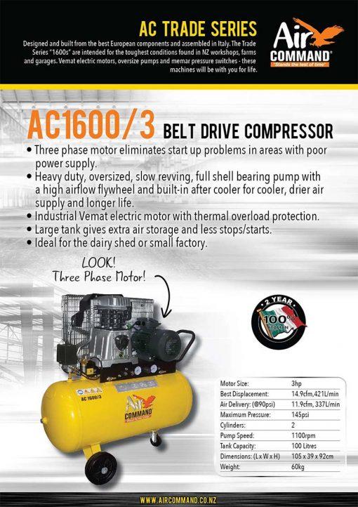 AIR COMMAND AC1600/3 | 14.9cfm / 421L/min, 100L Tank, 3HP Three Phase Belt Drive Air Compressor