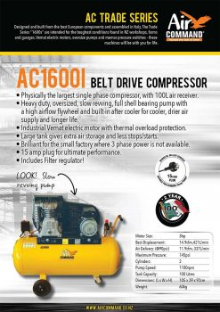 AIR COMMAND AC1600i | 14.9cfm / 421L/min, 100L Tank, 3HP Belt Drive Air Compressor