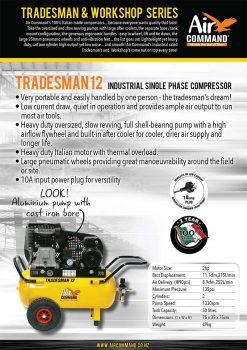 AIR COMMAND TM12 Tradesman 12 | 11.1cfm / 315L/min, 50L Tank, 2HP Industrial Single Phase Belt Drive Air Compressor