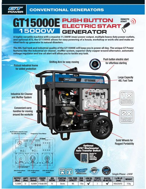 GT Power GT15000E | 11500W 3 Phase/Single Phase Conventional/Open Frame Professional Power Generator with Push Button Electric Start