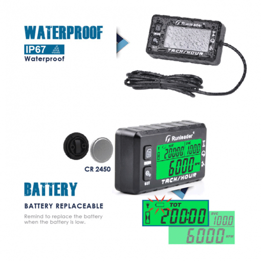 MULTI DISPLAY DIGITAL TACH HOUR METER | Multi functional with Backlight LCD and Replaceable Battery | GENERATORshop.co.nz