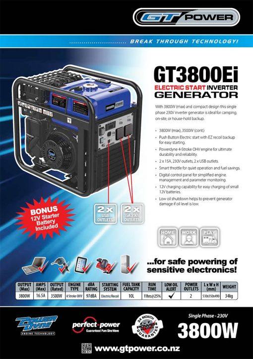 GT POWER GT3800ei | 3800W Portable Inverter/Pure Sine Wave Petrol Generator with Electric Start | GENERATORshop.co.nz