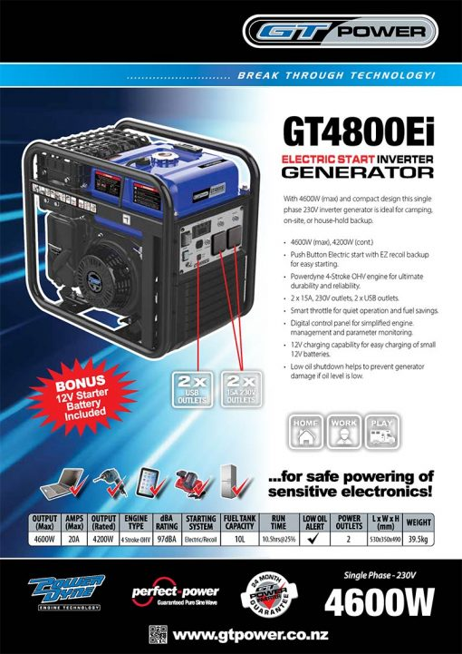 GT POWER GT4800ei | 4600W Portable Inverter/Pure Sine Wave Petrol Generator with Electric Start | GENERATORshop.co.nz