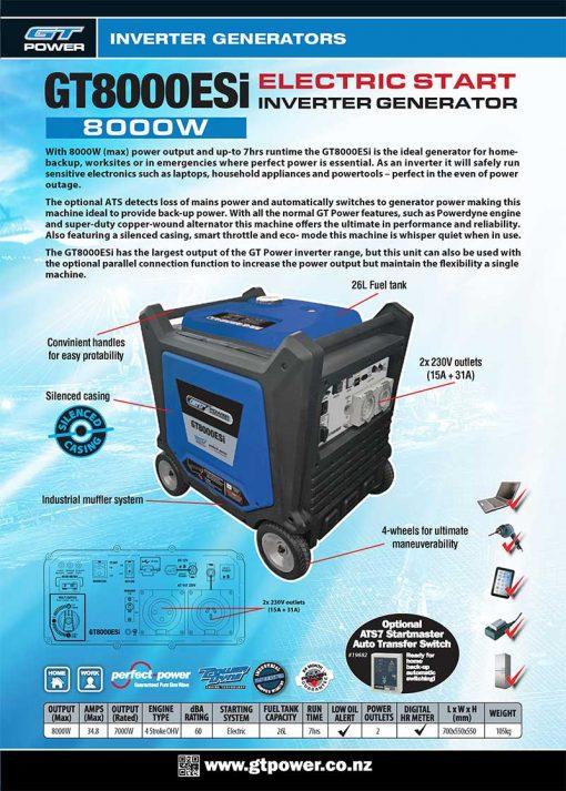 GT POWER GT8000esi | 8kW/8000W Portable Quiet Inverter/Pure Sine Wave Generator with Electric Start on Wheels | GENERATORshop.co.nz