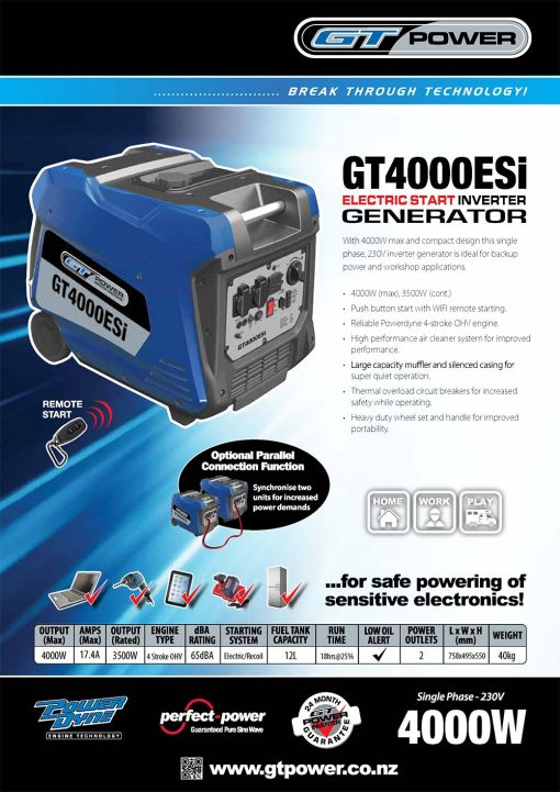 GT POWER GT4000esi | 4kW/4000W Portable Quiet Inverter/Pure Sine Wave Petrol Generator with Electric Start and Wheels | GENERATORshop.co.nz