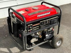 *SECOND HAND* POWERBUILT 7.25kW/7250W Conventional/Open Frame Generator with Key Electric Start and Wheels